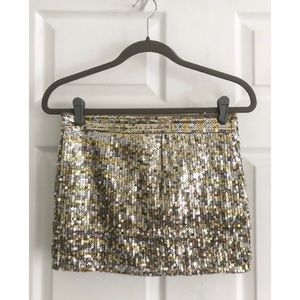 Abercrombie & Fitch gold silver sequin skirt EUC